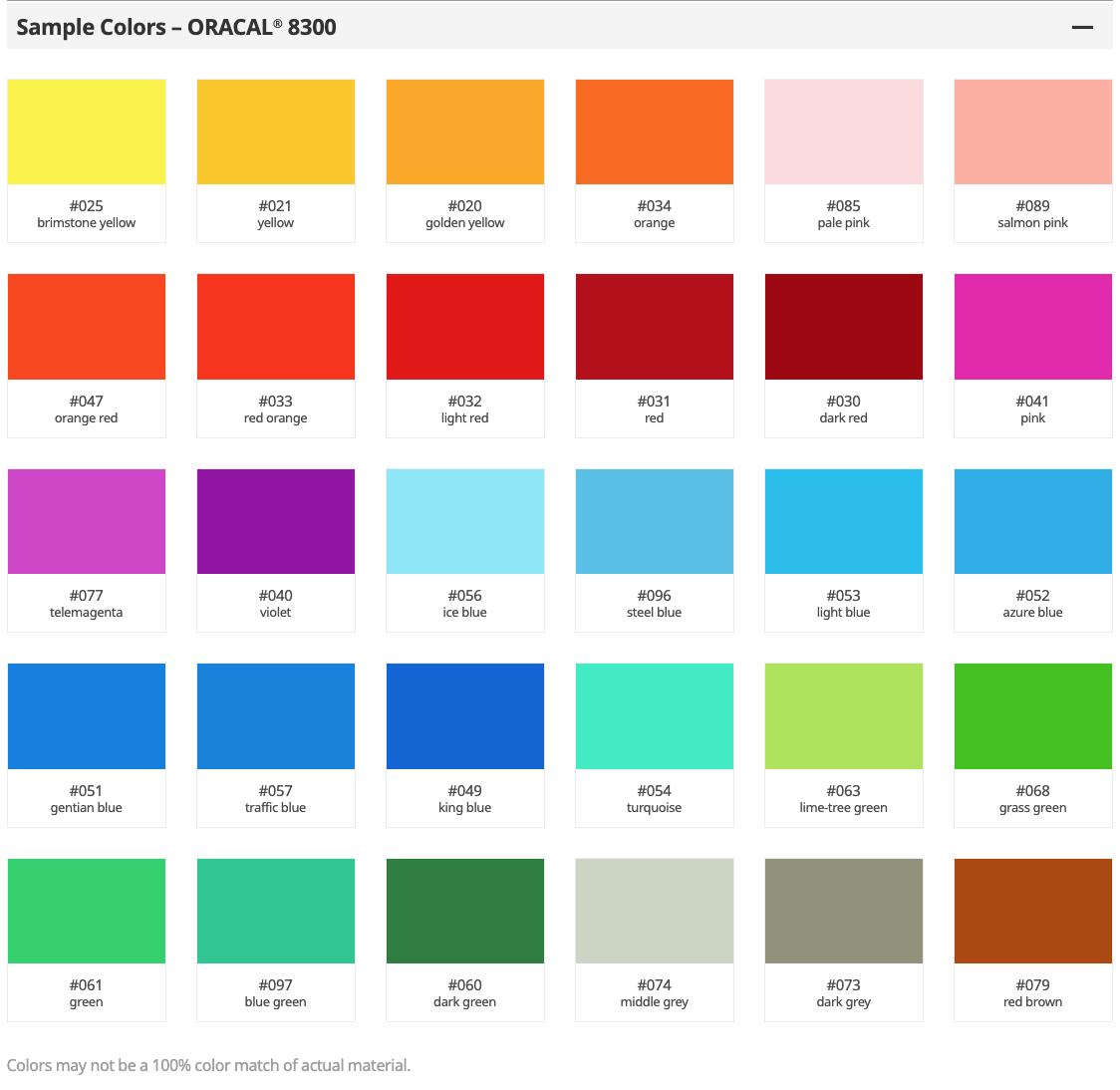 8300 Vinyl Transpareant Colors